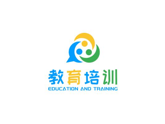 蓝色简约卡通活泼教育培训公司logo设计