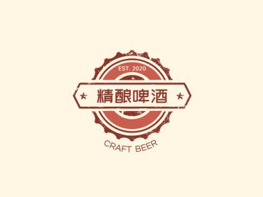 復古文藝啤酒徽章logo設計
