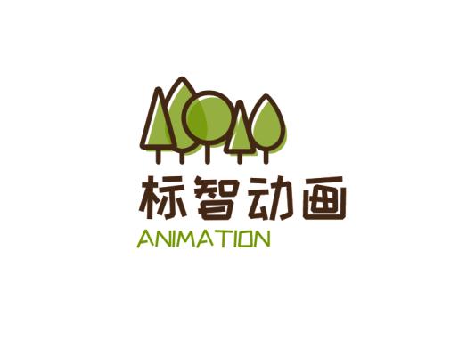 卡通树木插画logo设计