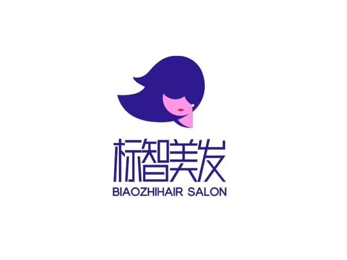 紫色创意人物美发logo设计