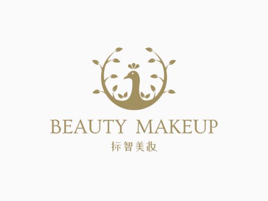 金色文艺高级美妆孔雀logo设计