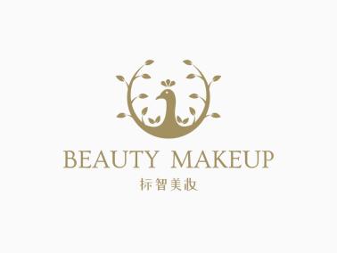 金色文藝高級美妝孔雀logo設計