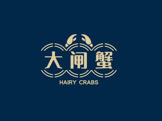 蓝金色高级创意蟹logo设计