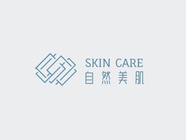 蓝色简约文艺清新美妆护肤logo设计