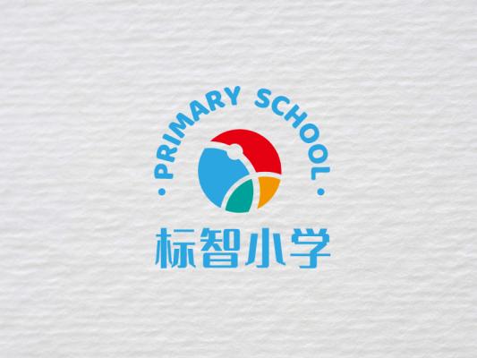 蓝色简约学校徽章logo设计