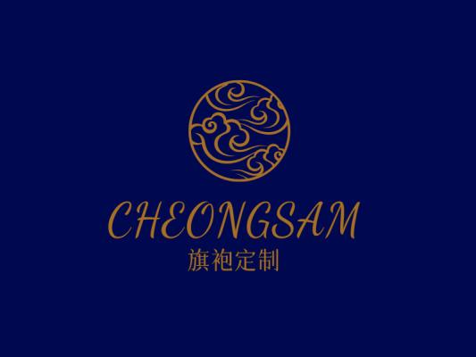 蓝金色文艺复古祥云logo设计