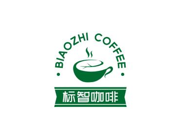 绿色创意咖啡茶饮徽章logo设计