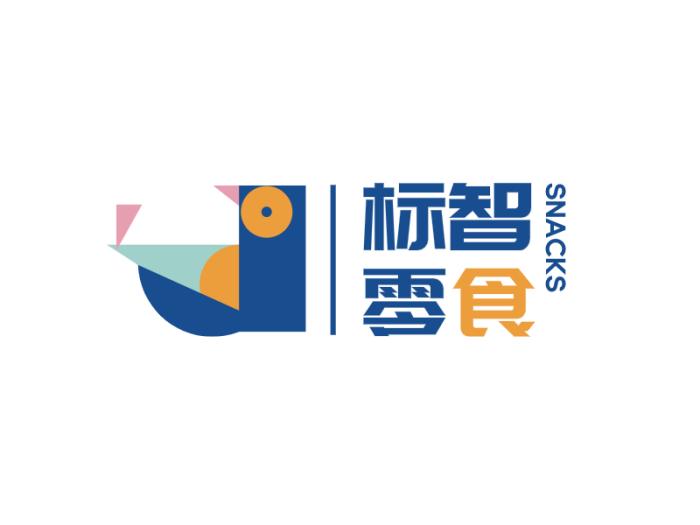 蓝色卡通零食商标logo设计