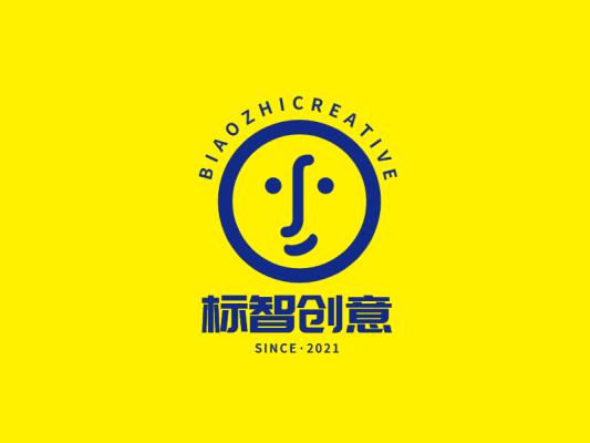 黄蓝色创意卡通logo设计