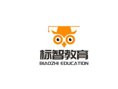 橘色卡通猫头鹰学士帽教育logo设计