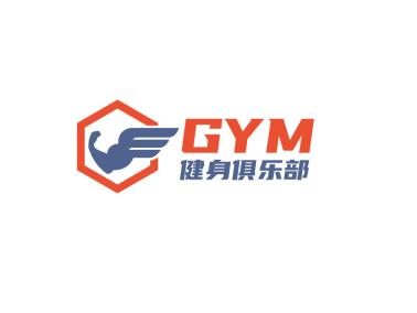 橙蓝色肌肉健身logo设计