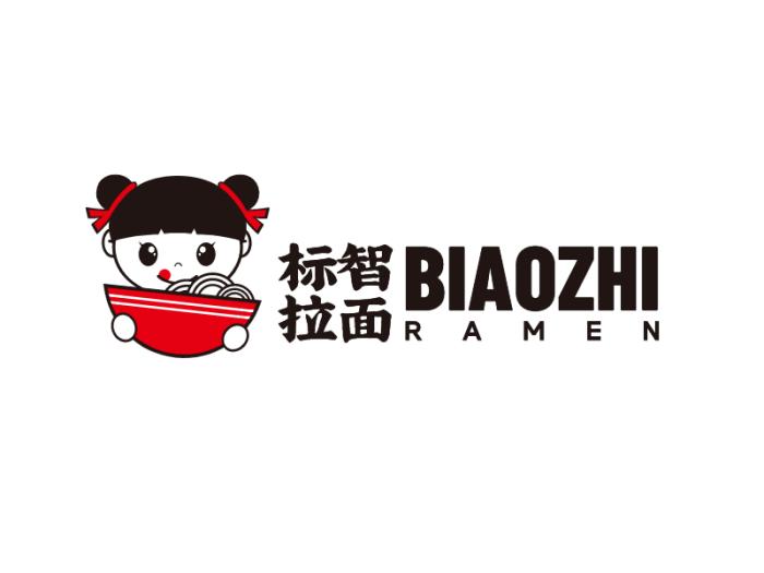 黑红色卡通人物餐饮logo设计
