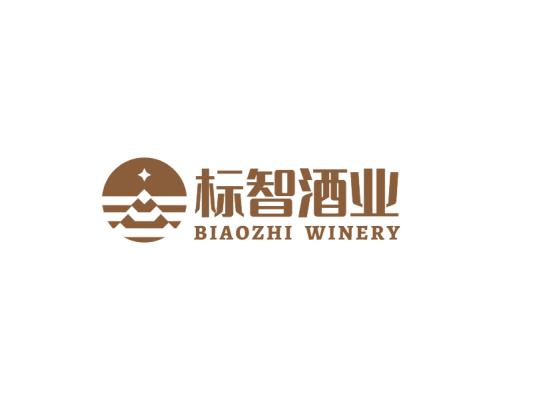 棕色简约图标酒logo设计