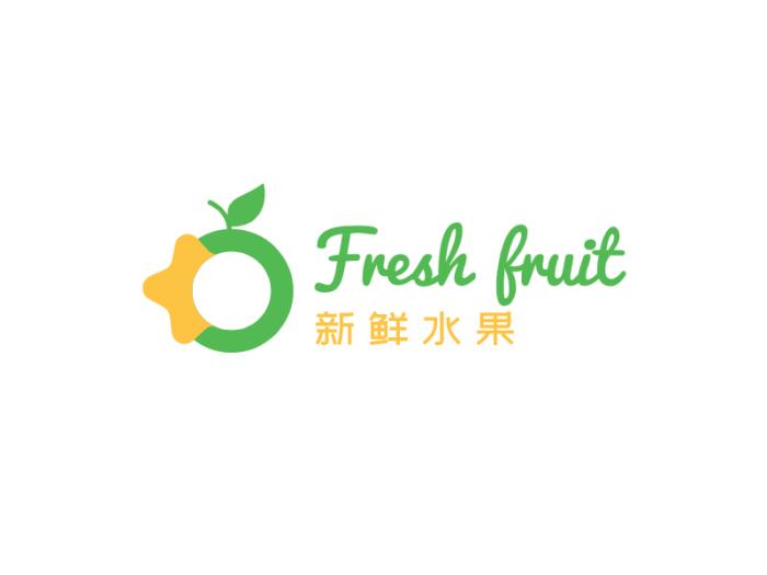 绿色清新卡通水果logo