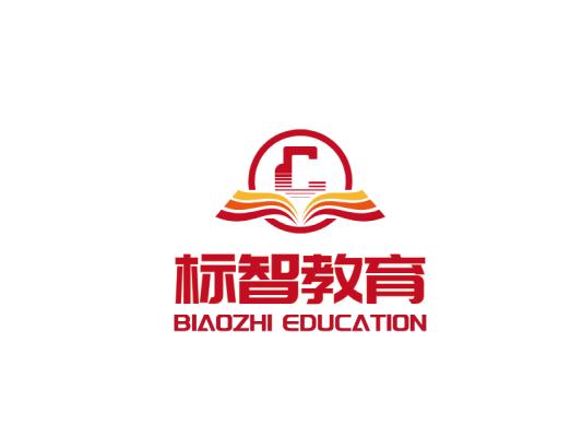 红色书本教育徽章logo设计