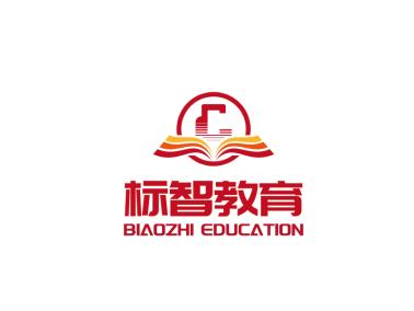 紅色書本教育徽章logo設計