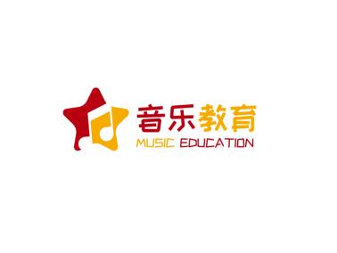 紅黃色星星音樂logo設計