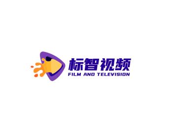 紫色卡通播放视频logo设计