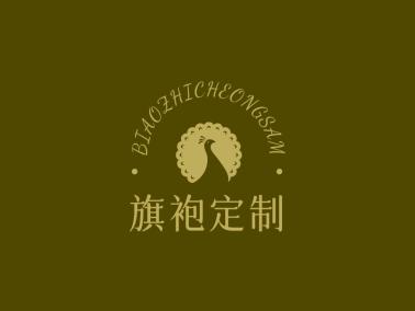 金色传统复古文艺孔雀logo设计