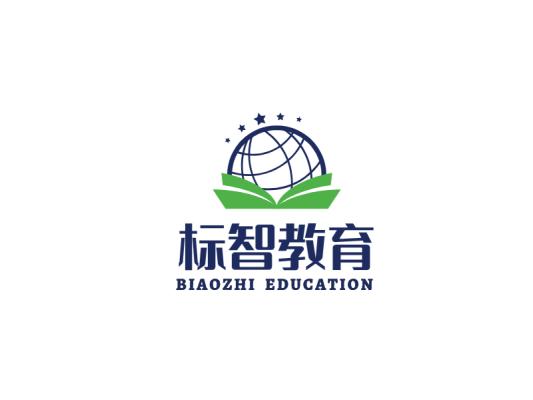 蓝色创意地球书籍教育行业logo设计