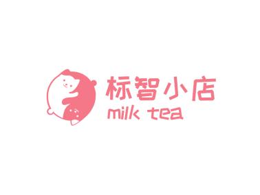 粉色可爱卡通猫咪logo设计
