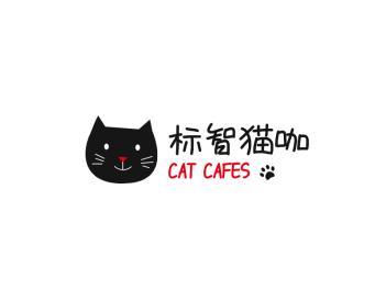 黑色可爱卡通猫咪logo设计