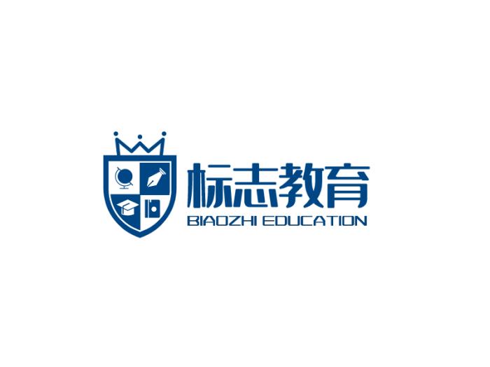 藍色英倫教育徽章logo設計