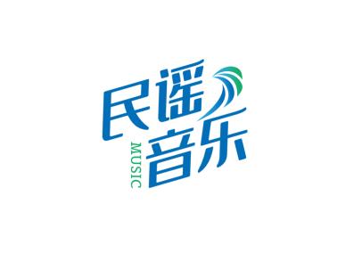 藍綠色清新文藝音樂logo設計