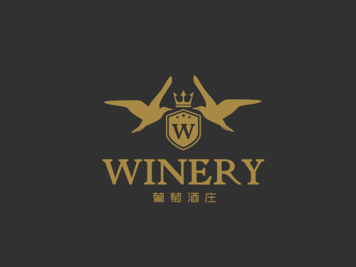 金色奢華高端 紅酒logo設計