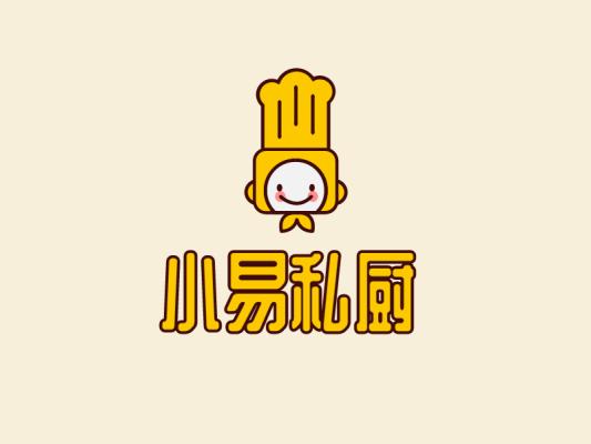 黄色卡通厨师小易私厨餐饮店铺logo设计