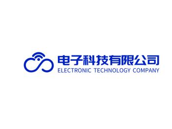 蓝色简约创意电子科技公司logo设计
