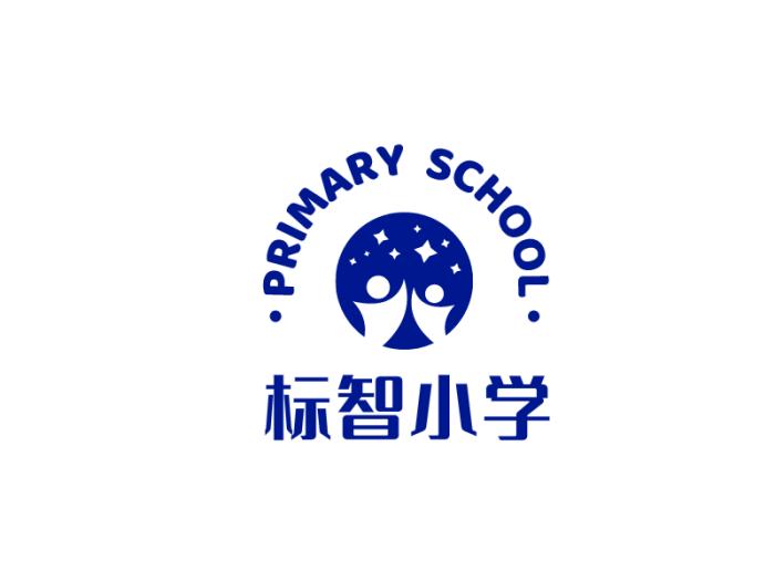 藍色簡約創意教育學校logo設計