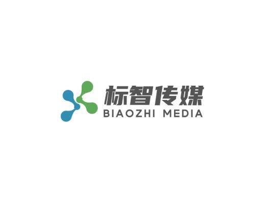 蓝绿色简约商业传媒公司logo设计