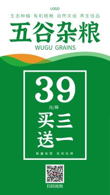 绿色传统五谷杂粮有机作物促销手机海报设计