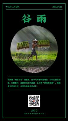 绿色简约实景谷雨节气手机海报设计