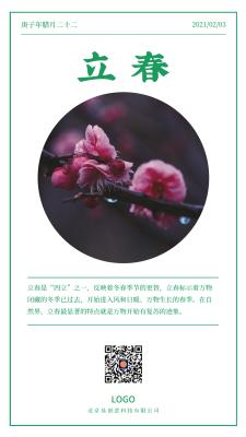 绿色简约实景二十四节气立春手机海报设计
