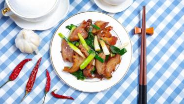 文艺清新蓝色格子替换食物美团招牌菜设计